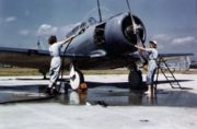 Airplane Pictures - WAVES washing a SNJ at NAS Jacksonville.