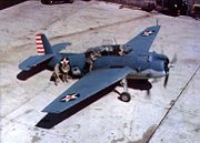 Airplane Pictures - TBF-1 Avenger early in 1942. Note the red spot centered in the US national insignia, which was removed just before the Battle of Midway