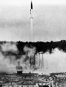 A V-2 launched from a fixed site in summer 1943
