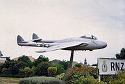 Warbird picture - No. 14 Squadron RNZAF Vampire FB 9 on permanent gate duty at Ohakea, New Zealand