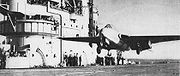 "Warbird picture - The first carrier landing and take-off of a jet aircraft in 1945 - Eric ""Winkle"" Brown taking off from HMS Ocean"