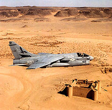 Airplane Picture - A-7E from VA-72 flying over the Saudi desert during Operation Desert Shield