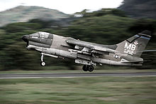 Airplane Picture - An A-7D of the 355 TFS/354 TFW takes off from Howard AFB in the Panama Canal Zone during a 1977 deployment.