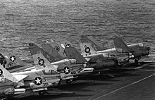 Airplane Picture - A-7Es on the USS Independence (CV 62) in 1983