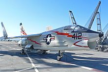 Airplane Picture - United States Navy F-8 from VF-154 Black Knights on the deck of USS Hornet