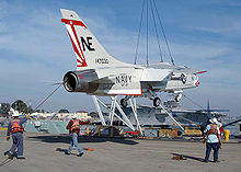 Airplane Picture - F-8K in markings of VF-111 arrives at the USS Midway museum in San Diego in 2005