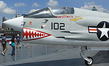 Airplane Picture - Crusader in the Intrepid Sea-Air-Space Museum, painted in VF-111 colors