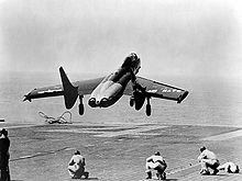 Airplane Picture - The first F7U-1 launching from the USS Midway in 1951