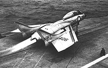 Airplane Picture - A VF-83 F7U-3M launches from the USS Intrepid in 1954