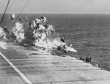 Airplane Picture - Ramp strike of a VF-124 F7U-3 on the USS Hancock on 14 July 1955 resulting in the deaths of the pilot, two boatswain's mates and a photographers mate. [3]