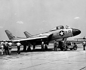 Airplane Picture - An F7U-3 Cutlass on the ramp at Naval Air Station Jacksonville.