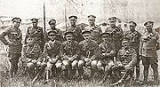 Officers and senior enlisted men of the Bermuda Militia Artillery's Bermuda Contingent, Royal Garrison Artillery, in Europe