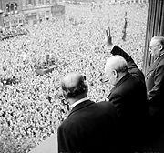 Airplane Pictures - Prime Minister Winston Churchill waves to crowds in London on Victory in Europe Day.