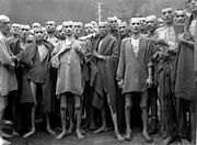 Airplane Pictures - Mistreated and starved prisoners in the Mauthausen camp, Austria, 1945.
